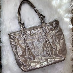 Coach Champagne Shimmery/Metallic Leather Tote